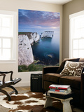 Dawn over Old Harry Rocks on the Jurassic Coast, Dorset, England. Spring Mural por Adam Burton