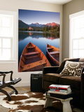 Wooden Boats on Strbske Pleso Lake in the Tatra Mountains of Slovakia, Europe. Autumn Wall Mural by Adam Burton