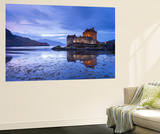 Twilight over Eilean Donan Castle on Loch Duich, Dornie, Scotland. Winter (November) Wall Mural by Adam Burton