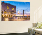 Italy, Veneto, Venice. Sunrise over Piazzetta San Marco and Doges Palace Wall Mural by Matteo Colombo