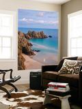 Pednvounder Beach and Logan Rock from the Clifftops Near Treen, Porthcurno, Cornwall Poster géant par Adam Burton