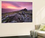 Spectacular Pink Sunrise Above Belstone Tor, Dartmoor, Devon, England. Winter Poster géant par Adam Burton