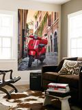 Italy, Lazio, Rome, Trastevere, Red Vespa Poster géant par Jane Sweeney