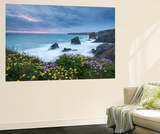 Wildflowers Growing on the Clifftops Above Bedruthan Steps on a Stormy Evening, Cornwall, England Mural por Adam Burton