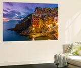 Dusk View of the Colorful Sea Village of Riomaggiore, Cinque Terre, Liguria, Italy Wall Mural by Stefano Politi Markovina