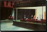Yökyöpelit, n. 1942 Kehystetty ja pohjustettu vedos tekijänä Edward Hopper