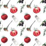 Watercolor Italian Food Pattern Plakat af  lenavetka87