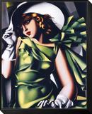 Mädchen in grün Gerahmter, auf Holz aufgezogener Druck von Tamara de Lempicka