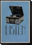 Listen Retro Record Player Art Poster Print Lámina montada y enmarcada
