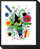 Der singende Fisch Gerahmter, auf Holz aufgezogener Druck von Joan Miró