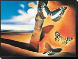 Landschaft mit Schmetterlingen Gerahmter, auf Holz aufgezogener Druck von Salvador Dalí