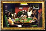 Perros jugando al póquer Lámina montada y enmarcada