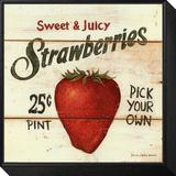 Erdbeeren – süß und saftig Gerahmter, auf Holz aufgezogener Druck von David Carter Brown