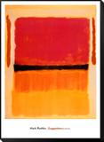 Ohne Titel (Violett, Schwarz, Orange, Gelb auf Weiß und Rot), ca. 1949 Gerahmter, auf Holz aufgezogener Druck von Mark Rothko