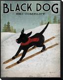 Black Dog Ski Gerahmter, auf Holz aufgezogener Druck von Ryan Fowler