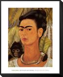 Self-Portrait with Monkey, c.1938 Indrammet og monteret tryk af Frida Kahlo