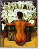 Akt mit Calla-Lilien|Nude with Calla Lilies Gerahmter, auf Holz aufgezogener Druck von Diego Rivera