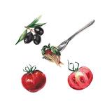 Watercolor Italian Food Set Plakater af  lenavetka87