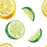 Watercolor Lime and Lemon Pattern Julisteet tekijänä  lenavetka87