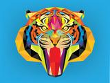 Tiger Head with Geometric Style Giclée-Premiumdruck von  happysunstock