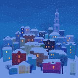 Small Town in Winter Twilight Posters por  polinina