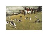 The Fallowfield Hunt, The Check Premium Giclee-trykk av Cecil Aldin