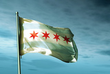 Chicago (Usa) Flag Waving on the Wind Print by  Lulla