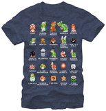 Super Mario - Pixel Cast Tシャツ