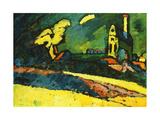 Murnau - Landscape with Church I, 1909 Lámina giclée por Wassily Kandinsky