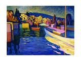 Autumn Landscape with Boats, 1908 Giclée-tryk af Wassily Kandinsky