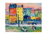 Huse i München, 1908/ Giclée-tryk af Wassily Kandinsky