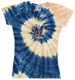Ladies: MLB-Brewers Spiral V-Neck Damen-T-Shirts mit V-Ausschnitt