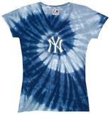 Ladies: MLB-Yankees Spiral V-Neck Damen-T-Shirts mit V-Ausschnitt