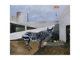 Zebra and Parachute Giclée-tryk af Christopher Wood