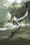 Hydrotherosaurus and Tylosaurus Dinosaurs Attacking Pteranodons Kunst af Stocktrek Images