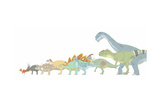 Pencil Drawing Illustrating Various Dinosaurs and their Comparative Sizes Poster di Stocktrek Images