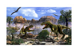 Two T-Rex Dinosaurs Fighting over a Dead Carcass Stampe di Stocktrek Images