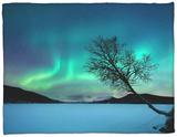 Aurora Borealis over Sandvannet Lake in Troms County, Norway Fleece Blanket by  Stocktrek Images