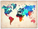 World Watercolor Map 1 Fleece Blanket by  NaxArt