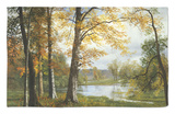 A Quiet Lake Rug by Albert Bierstadt