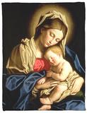 Madonna and Child Fleece Blanket by  Giovanni Battista Salvi da Sassoferrato