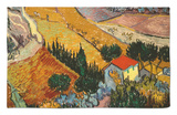 Landscape with House and Ploughman, 1889 Rug by Vincent van Gogh