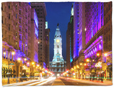 City Hall and Avenue of the Arts by Night, Philadelphia, Pennsylvania, United States Fleece Blanket by Philippe Hugonnard
