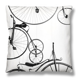 Bicycle Display at Swiss Transport Museum, Lucerne, Switzerland Throw Pillow by Walter Bibikow