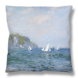 Cliffs and Sailboats at Pourville Throw Pillow by Claude Monet