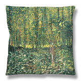 Woods and Undergrowth, c.1887 Throw Pillow by Vincent van Gogh