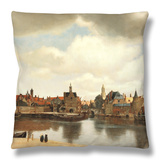 View of Delft, about 1660 Throw Pillow by Johannes Vermeer