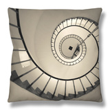 La Paloma, Atlantic Ocean Resort Town, Cabo Santa Maria Lighthouse, Interior Stairs, Uruguay Throw Pillow by Walter Bibikow