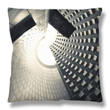 France, St-Ours Les Roches, Vulcania European Volcanic Park, Great Cone Caldera Structure Throw Pillow by Walter Bibikow