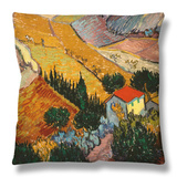 Landscape with House and Ploughman, 1889 Throw Pillow by Vincent van Gogh